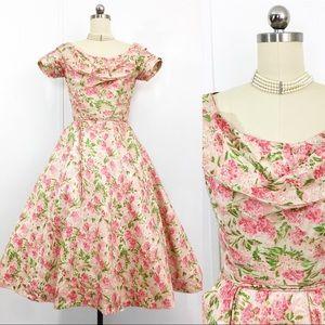Ceil Chapman Vintage 50s Silk Cocktail Dress